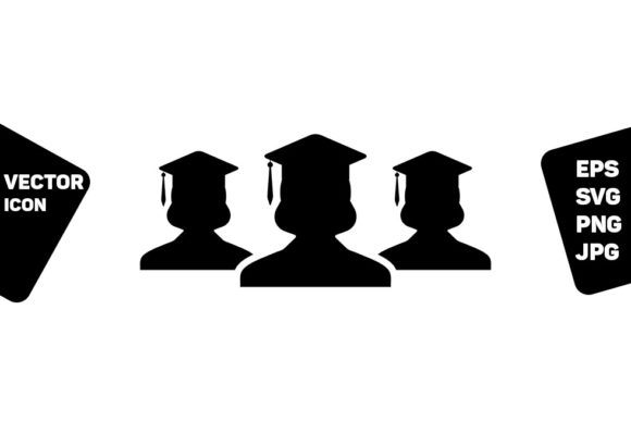 Print on Demand: Graduation Icon Vector Female Group Graphic Icons By TukTuk Design