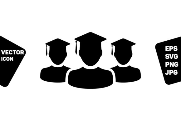 Print on Demand: Graduation Icon Vector Male Group Graphic Icons By TukTuk Design