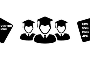 Print on Demand: Graduation Icon Vector Male Group Person Graphic Icons By TukTuk Design