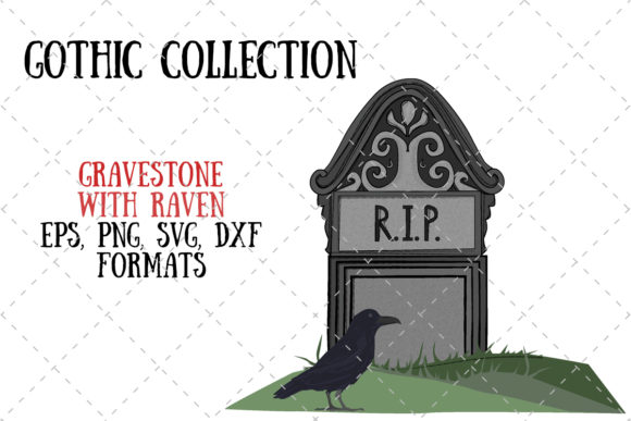 Gravestone with Raven Gothic Collection Graphic Illustrations By My Little Black Heart