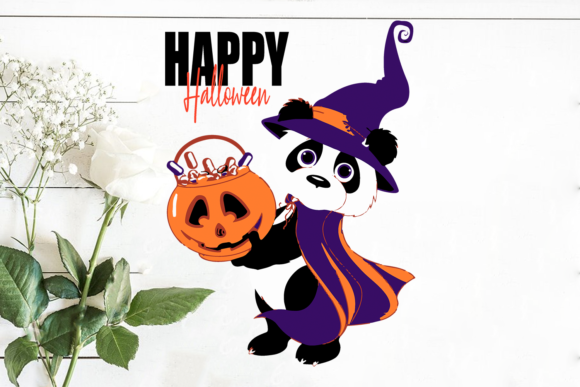 Halloween Baby Panda with Pumpkin Graphic Print Templates By Silhouette Market