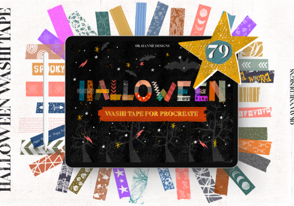 Halloween Washi Tape for Procreate Graphic Brushes By OkayAnnie Designs