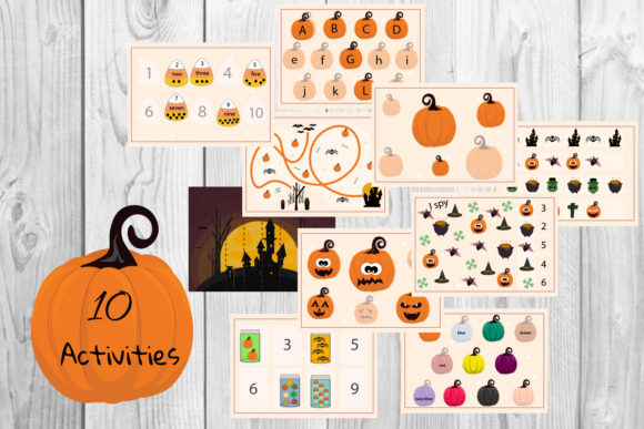 Halloween Kids Activites, Kids Worksheet Graphic Teaching Materials By Igraphic Studio