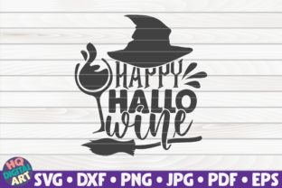Print on Demand: Happy Hallo-wine SVG | Halloween Quote Graphic Crafts By mihaibadea95
