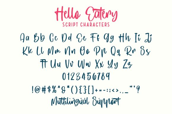 Hello Eatery Font Downloadable Digital File