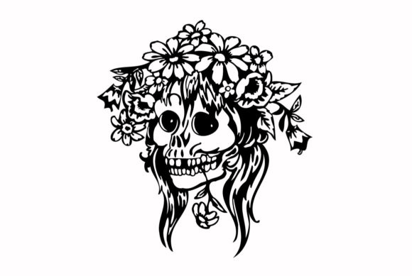 Print on Demand: Human Skull Face Tattoo Template Graphic Graphic Illustrations By nisakaart