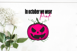 In October We Wear Pink Pumpkin Grafik Druck-Templates von Svg Market