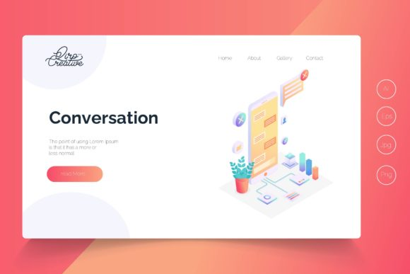 Print on Demand: Isometric Conversation Landing Page Graphic Landing Page Templates By qirocreative