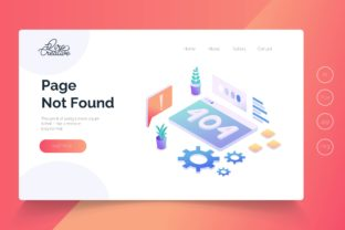 Print on Demand: Isometric Page Not Found Landing Page Graphic Landing Page Templates By qirocreative