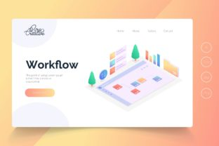 Print on Demand: Isometric Workflow Landing Page Vector Graphic Landing Page Templates By qirocreative