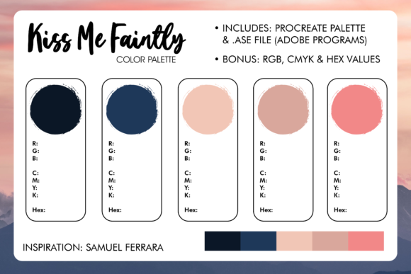 Print on Demand: Kiss Me Faintly Procreate Color Palette Graphic Layer Styles By Oh K Productions