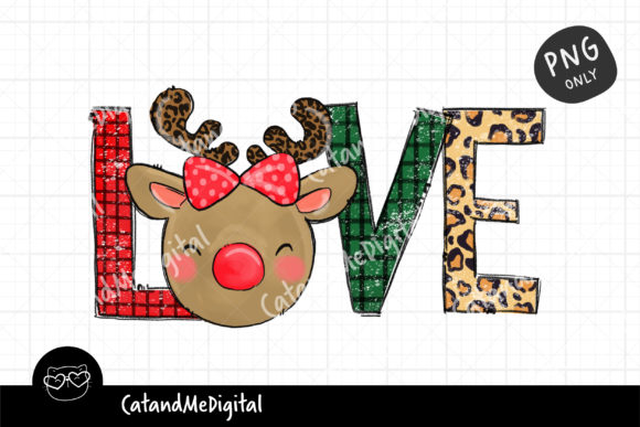 Love Christmas Reindeer Sublimation Graphic Illustrations By CatAndMe