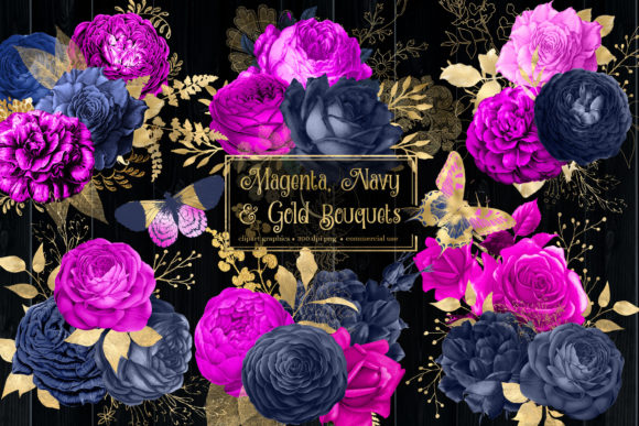 Print on Demand: Magenta Navy and Gold Bouquets Clipart Graphic Illustrations By Digital Curio