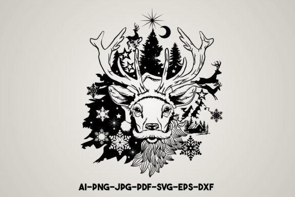 Merry Christmas Reindeer Svg Graphic Print Templates By Euphoria Design