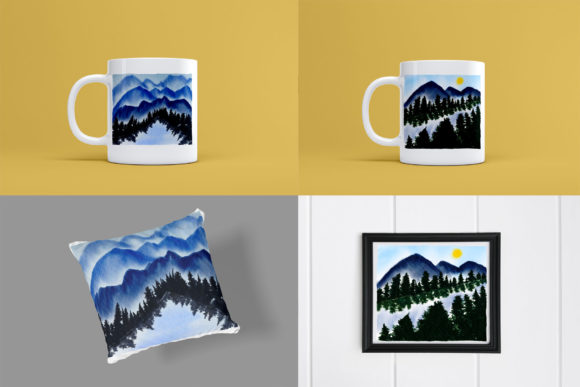 Print on Demand: Mountains Watercolor Wet Illustrations Graphic Illustrations By goodigital