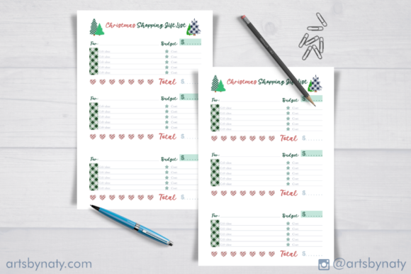 Plaid Christmas Shopping Gift List KDP. Graphic Download