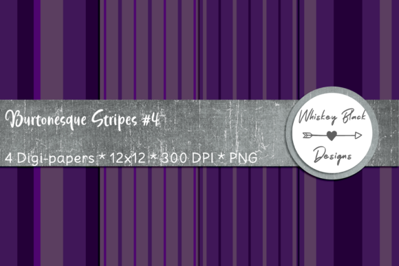 Print on Demand: Purple Gothic Stripes 4 Graphic Patterns By Whiskey Black Designs