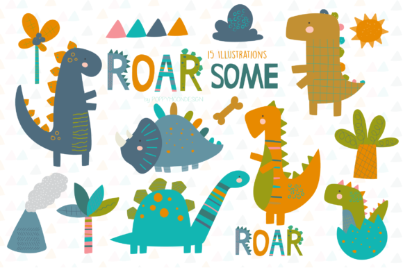 Print on Demand: ROARsome Dinosaur Clipart Set Graphic Illustrations By poppymoondesign
