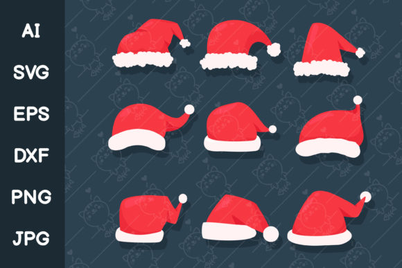 Red Christmas Hat to Decorate Santa Graphic Illustrations By CRStocker