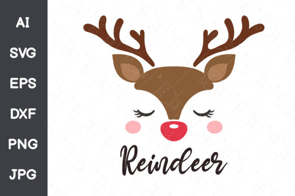 Reindeer's Face Christmas Graphic Illustrations By CRStocker