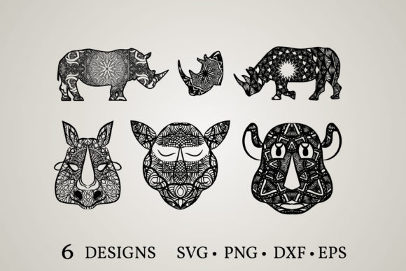 Rhino Mandala Svg Graphic Print Templates By Euphoria Design