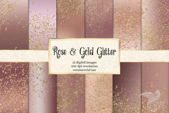 Print on Demand: Rose and Gold Glitter Digital Paper Grafik Backgrounds von Digital Curio