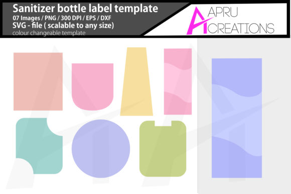 Print on Demand: Sanitizer Bottle Label Template Graphic Icons By aparnastjp