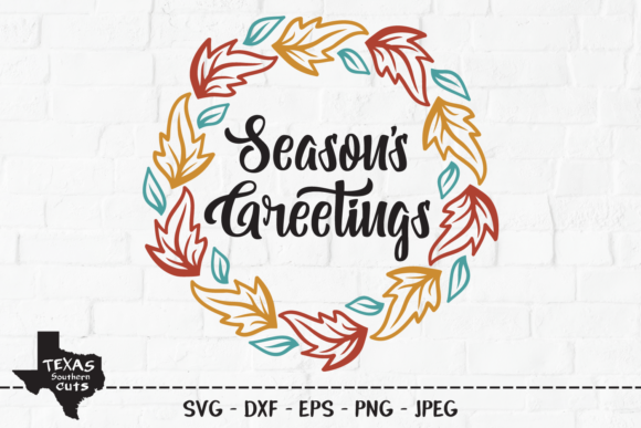 Print on Demand: Seasons Greetings - Fall Holiday Wreath Graphic Crafts By texassoutherncuts