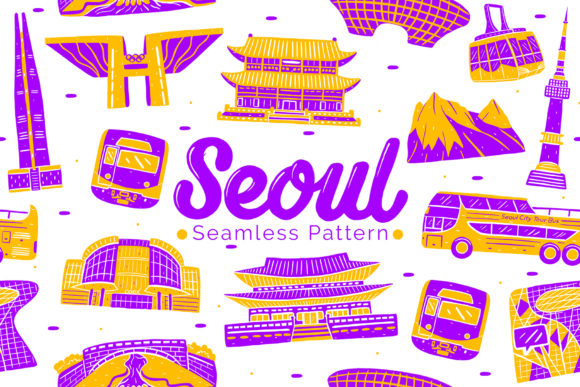 Seoul Seamless Pattern Graphic Patterns By medzcreative