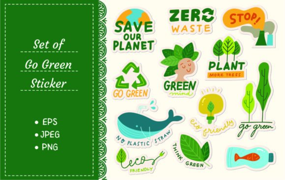 Set of Ecology Sticker Graphic Illustrations By Big Barn Doodles