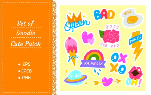 Set of Fashion Patch, Cute Sticker Set Graphic Illustrations By Big Barn Doodles