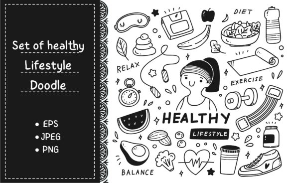 Set of Healthy Lifestyle in Doodle Style Graphic Illustrations By Big Barn Doodles