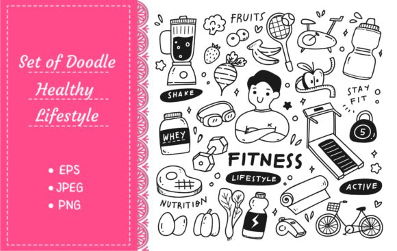 Set of Healthy Lifestyle in Doodle Style Graphic