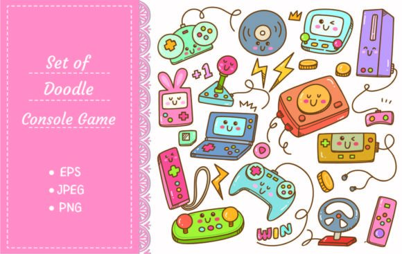 Set of Kawaii Video Games Doodle Graphic Illustrations By Big Barn Doodles