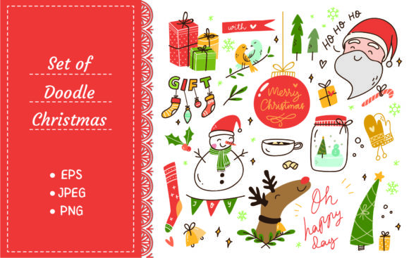 Set of Vintage Christmas Doodle Graphic Illustrations By Big Barn Doodles