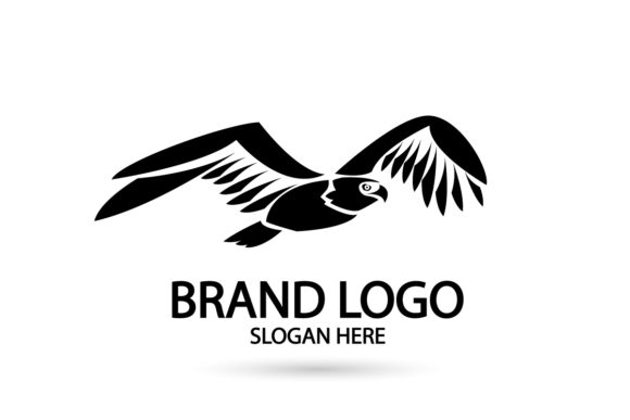 Print on Demand: Silhouette Falcon Eagle Logo Icon Vector Graphic Logos By Dender Studio