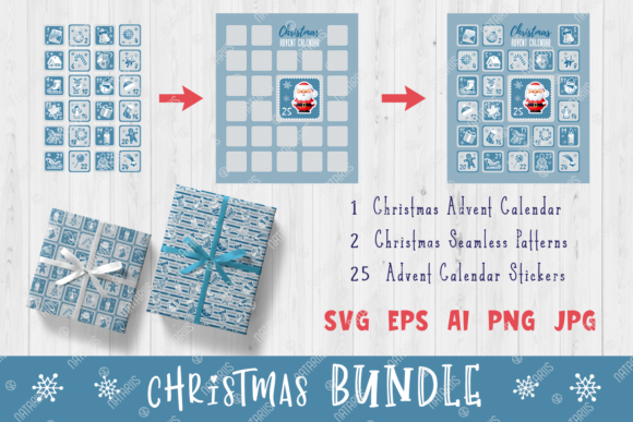 Silver Christmas Set - Advent Calendar Graphic Illustrations By Natariis Studio
