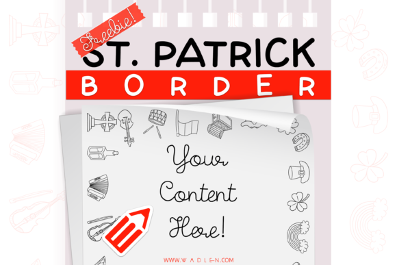 St. Patrick Border Template Graphic Print Templates By WADLEN