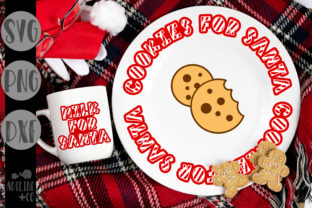 Striped Milk Cookies Plate, Christmas Graphic Crafts By adelinenco