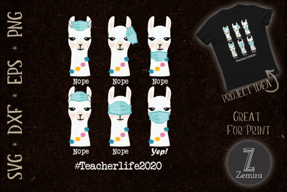 Print on Demand: Teacher Life 2020 Llama Wearing Mask SVG Graphic Crafts By Zemira