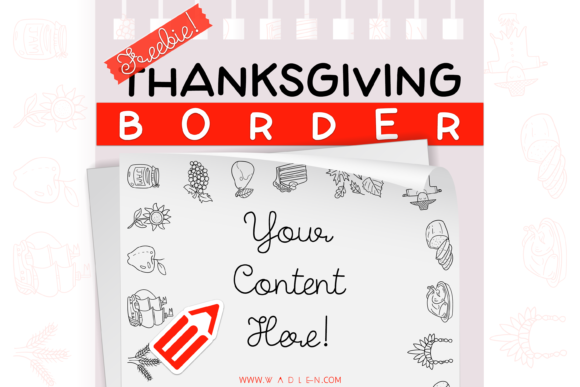 Thanksgiving Border Template Grafik Druck-Templates von WADLEN