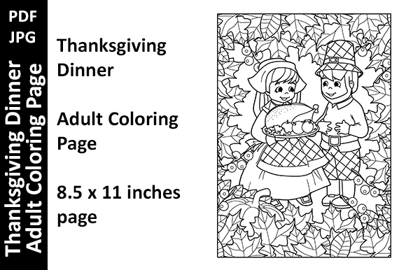Thanksgiving Dinner Adult Coloring Page (Graphic) By Oxyp · Creative Fabrica