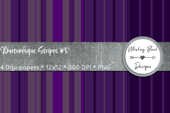 Print on Demand: Thick & Thin Purple Gothic Lines 3 Graphic Patterns By Whiskey Black Designs