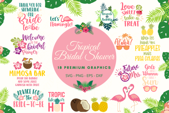 Tropical Bridal Shower Graphic Crafts By Graphipedia