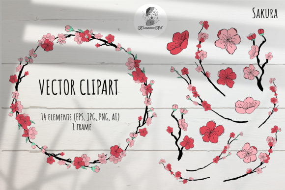 Vector Color Clipart of Sakura Elements. Graphic Illustrations By Komanna_Art