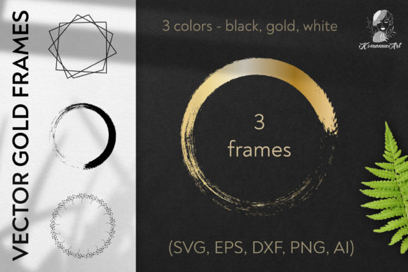 Print on Demand: Vector Wreaths Silhouettes SVG Clipart Graphic Illustrations By Komanna_Art