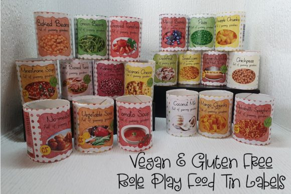 Print on Demand: Vegan & Gluten Free Tinned Food Labels F Graphic Teaching Materials By Arda Designs