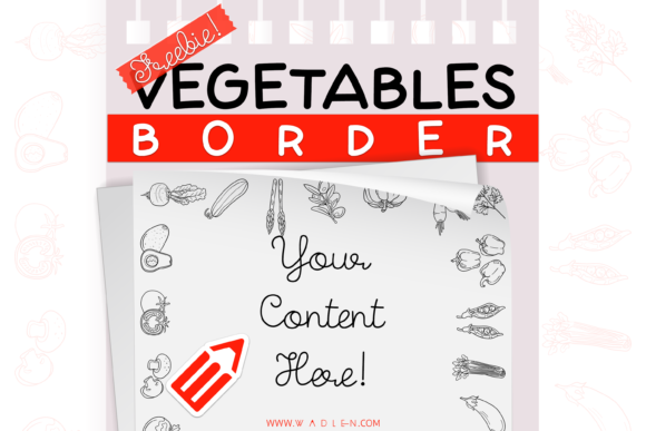 Vegetables Border Template Graphic Print Templates By WADLEN
