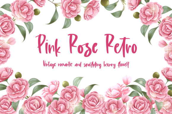 Wallpaper and Pattern of Pink Rose Retro Graphic Illustrations By huapika
