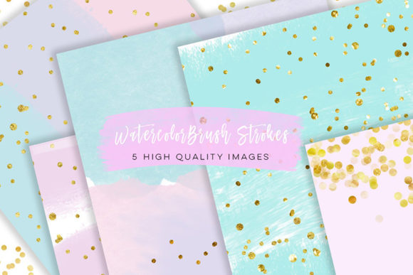 Print on Demand: Watercolor Brush Strokes Gold Clipart Graphic Illustrations By SunflowerLove